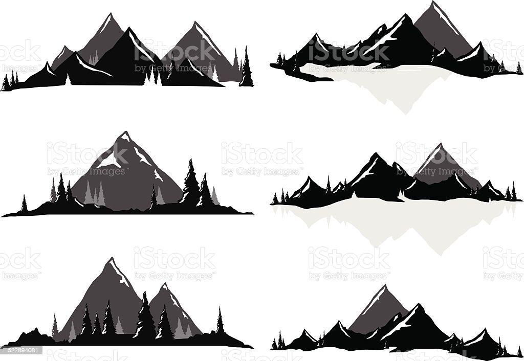 Mountain Ranges and Scenic Scenes vector art illustration
