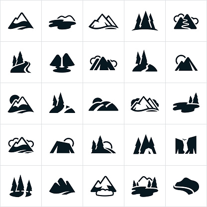 Mountain Ranges, Hills and Water Ways Icons clipart
