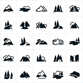 A set of stylized icons showing mountain ranges, hills, lakes, waterfall, snow capped mountains, rivers and mountain trails.