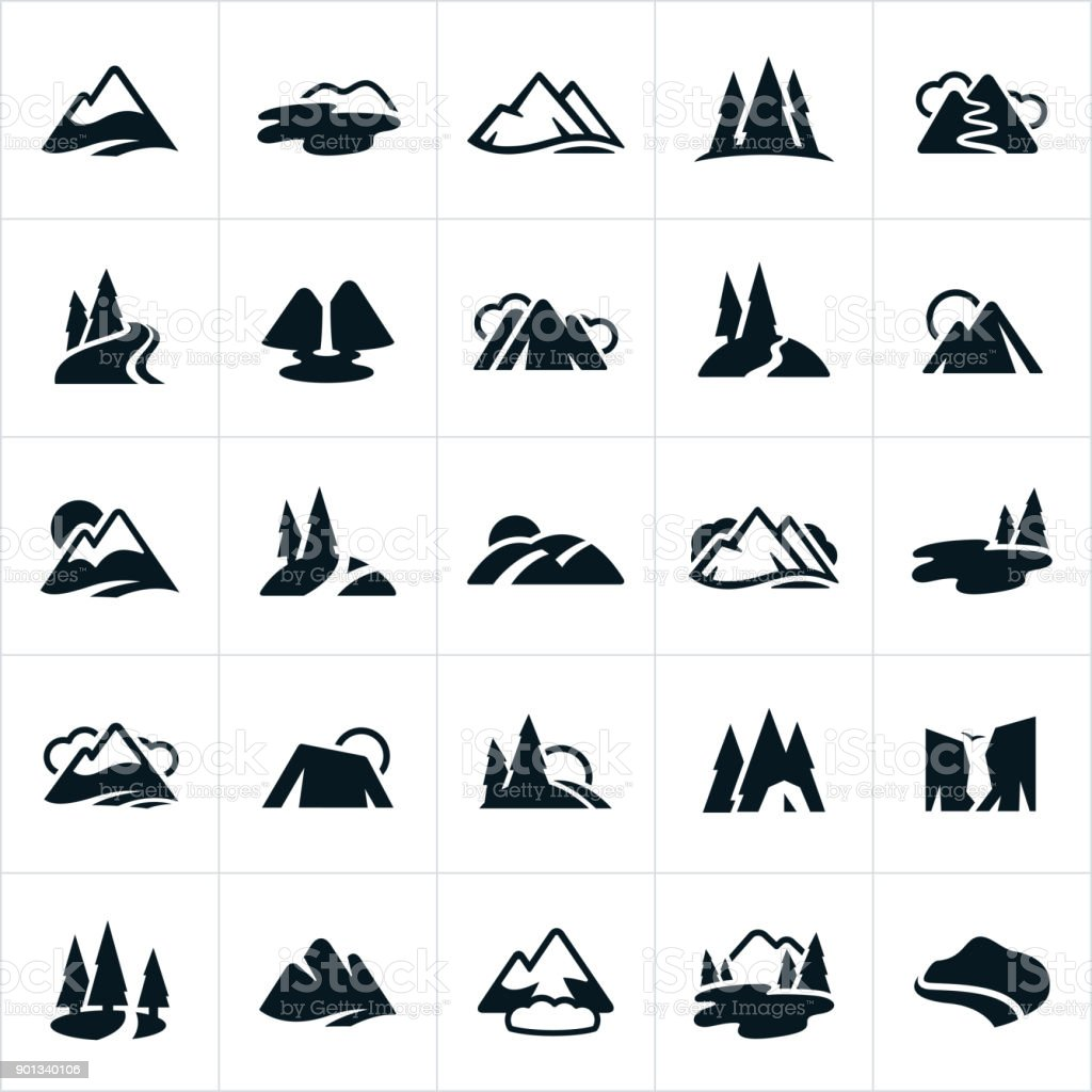 Mountain Ranges, Hills and Water Ways Icons vector art illustration