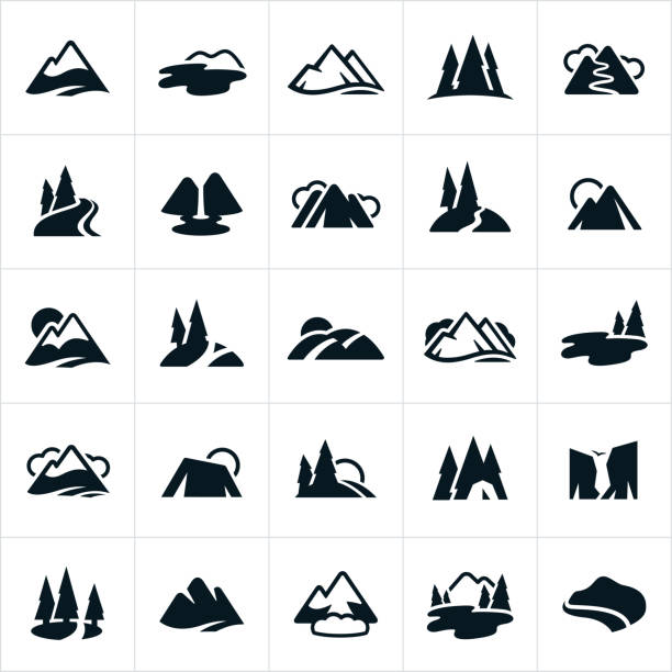 Mountain Ranges, Hills and Water Ways Icons A set of stylized icons showing mountain ranges, hills, lakes, waterfall, snow capped mountains, rivers and mountain trails. mountains stock illustrations