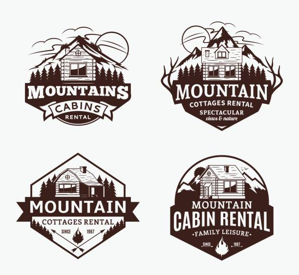 mountain recreation and cabin rentals labels - log cabin stock illustrations, clip art, cartoons, & icons