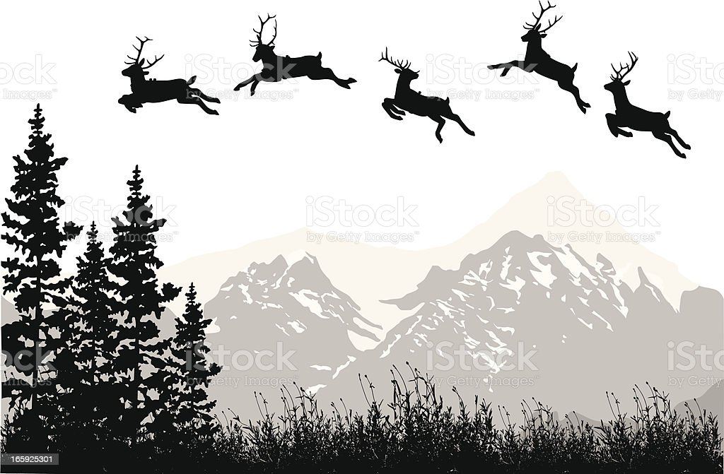 Mountain Reindeer Vector Silhouette royalty-free stock vector art