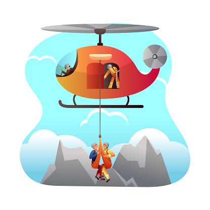 Mountain rescue service flat vector illustration