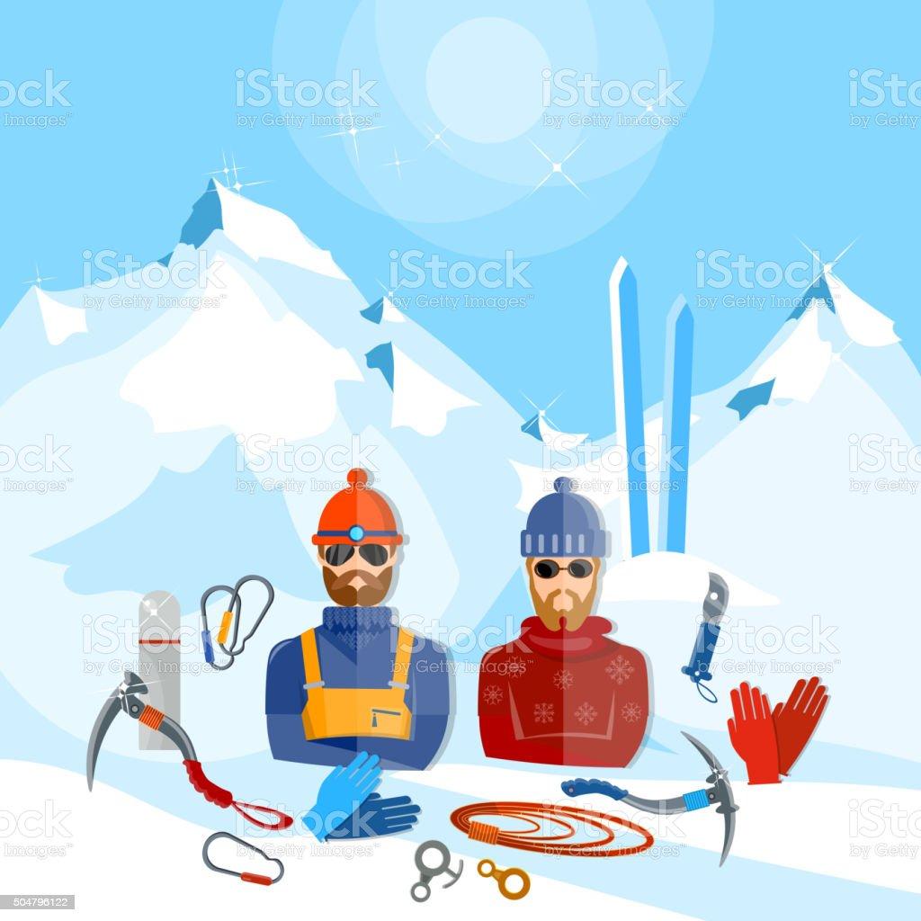 Mountain tourism winter sports snowboarding skiing mountain rescuers...