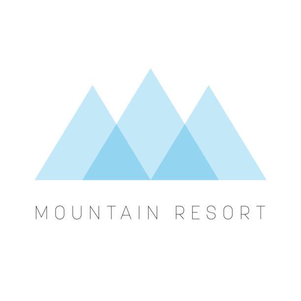 stockillustraties, clipart, cartoons en iconen met mountain resort sjabloon. blauwe driehoek shapetype voor zaken of reizen bedrijf. vectorillustratie - triangel