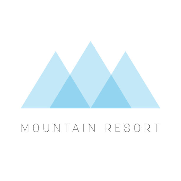 mountain resort   template. blue triangle shape  type for business or travel company. vector illustration - szczyt górski stock illustrations