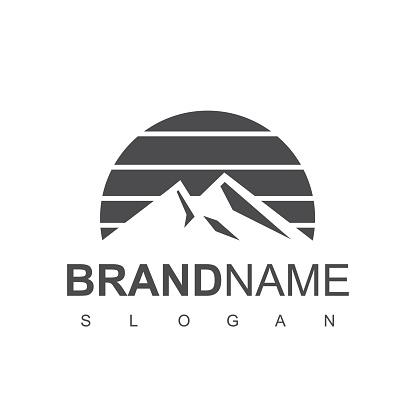 Mountain Retro Logo Design Vector