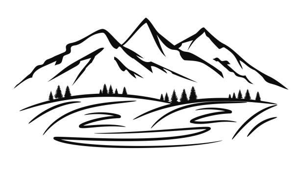 illustrazioni stock, clip art, cartoni animati e icone di tendenza di mountain ridge silhouette with many peaks and trees - stock vector - monte bianco