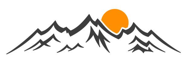 illustrazioni stock, clip art, cartoni animati e icone di tendenza di mountain ridge with many peaks and sun - stock vector - monte bianco
