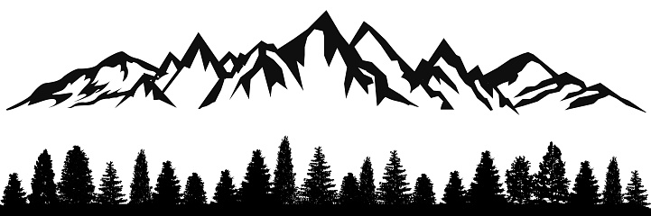 Mountain ridge with many peaks and the forest at the foot - stock vector