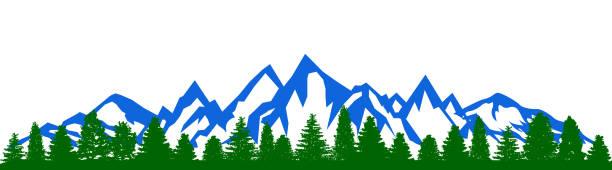 illustrazioni stock, clip art, cartoni animati e icone di tendenza di mountain ridge with many peaks and the forest at the foot - vector - monte bianco