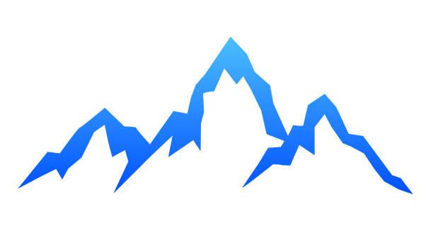 illustrazioni stock, clip art, cartoni animati e icone di tendenza di mountain ridge with three peaks - stock vector - monte bianco