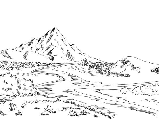 Royalty Free Cartoon Of The Black White Mountain Landscape