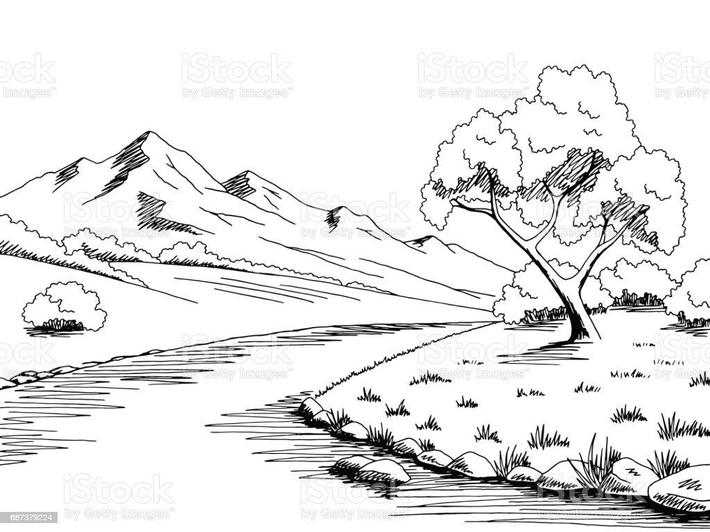 Line Drawing River : Mountain river graphic black white landscape sketch