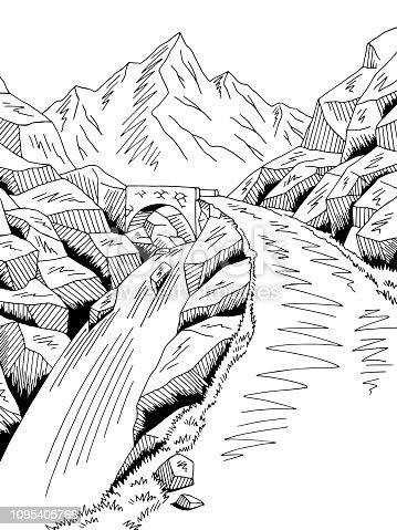 Mountain road bridge graphic black white river waterfall landscape sketch illustration vector