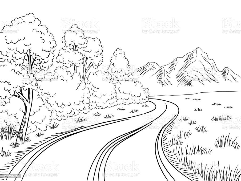 Gunung Jalan Grafis Hitam Lanskap Putih Sketsa Ilustrasi Vektor ...