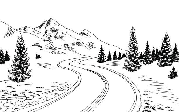 bergstraße grafik schwarz-weiß-landschaftsskizze illustration vektor - landstraße stock-grafiken, -clipart, -cartoons und -symbole