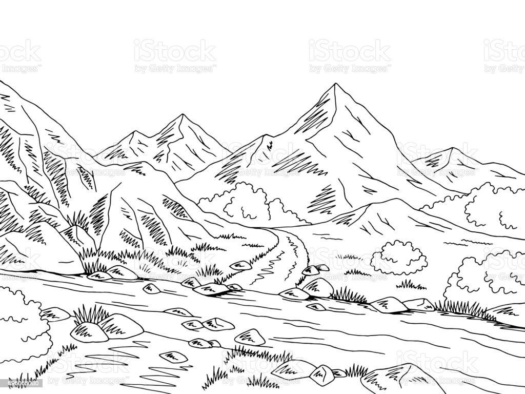 Gunung Jalan Grafis Sungai Putih Hitam Ford Lanskap Sketsa ...