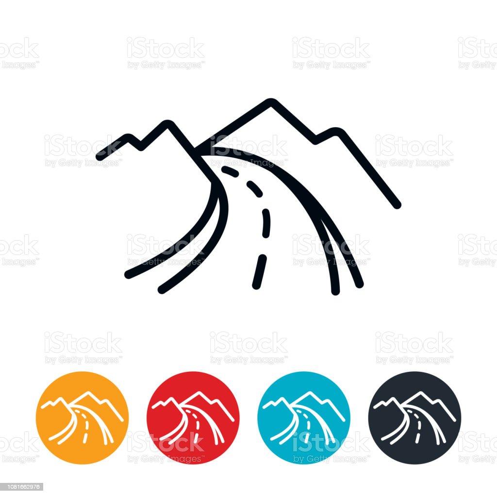 Mountain Road Icon vector art illustration