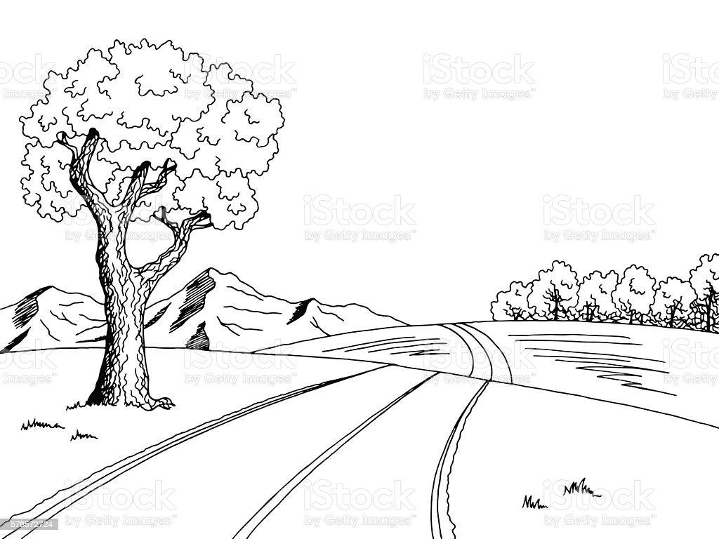 Mountain Road Tree Graphic Art Black White Landscape