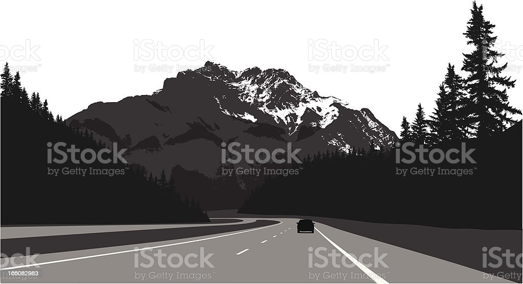 Mountain Road Vector Silhouette royalty-free stock vector art
