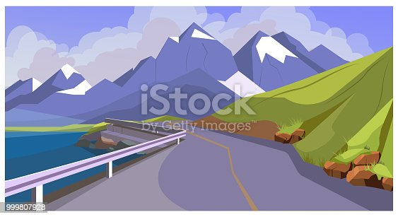 Mountain road with railing vector illustration. Hill range with winding road. Nature illustration