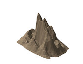 Mountain rock. Isolated on white background. 3d Vector illustration.