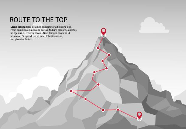 Mountain route infographic. Journey challenge path business goal career growth success climbing mission. Mountains path vector concept Mountain route infographic. Journey challenge path business goal career growth success climbing mission. Mountains path steps vector concept mountain peak stock illustrations