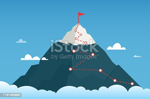 Mountain route to peak mountain. Сoncept of success. Business vector illustration. EPS 10.