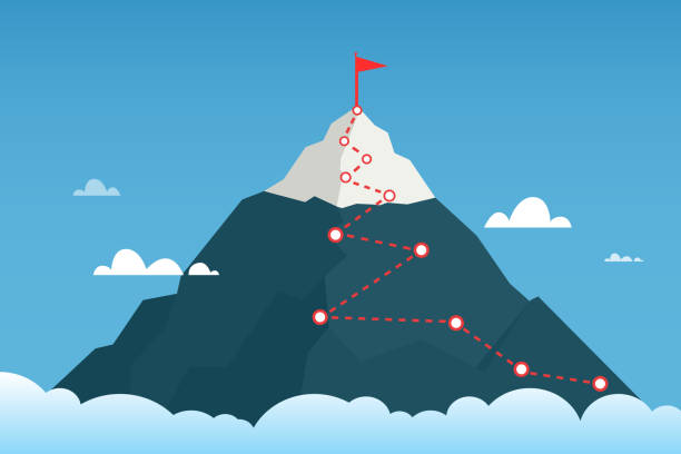 Mountain route to peak mountain. Сoncept of success. vector art illustration