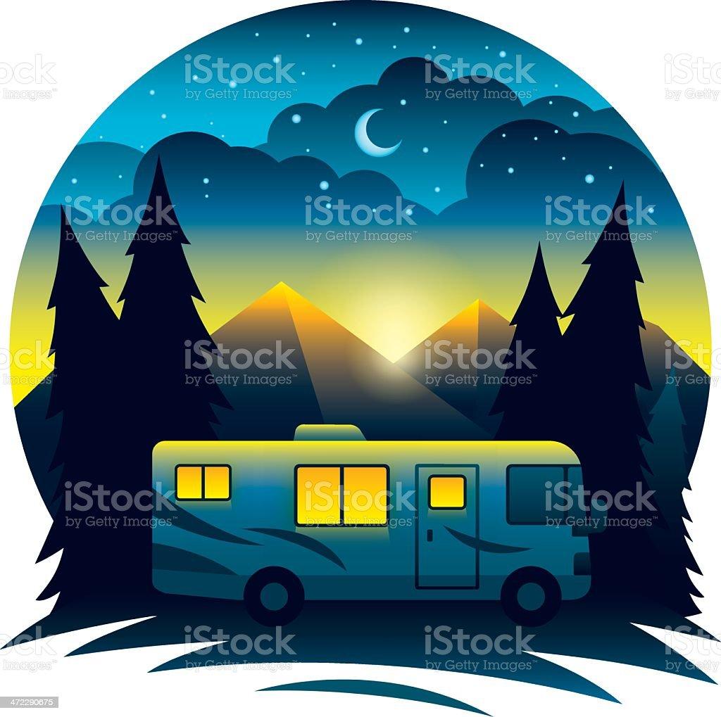 Mountain RV Scene at Dusk vector art illustration