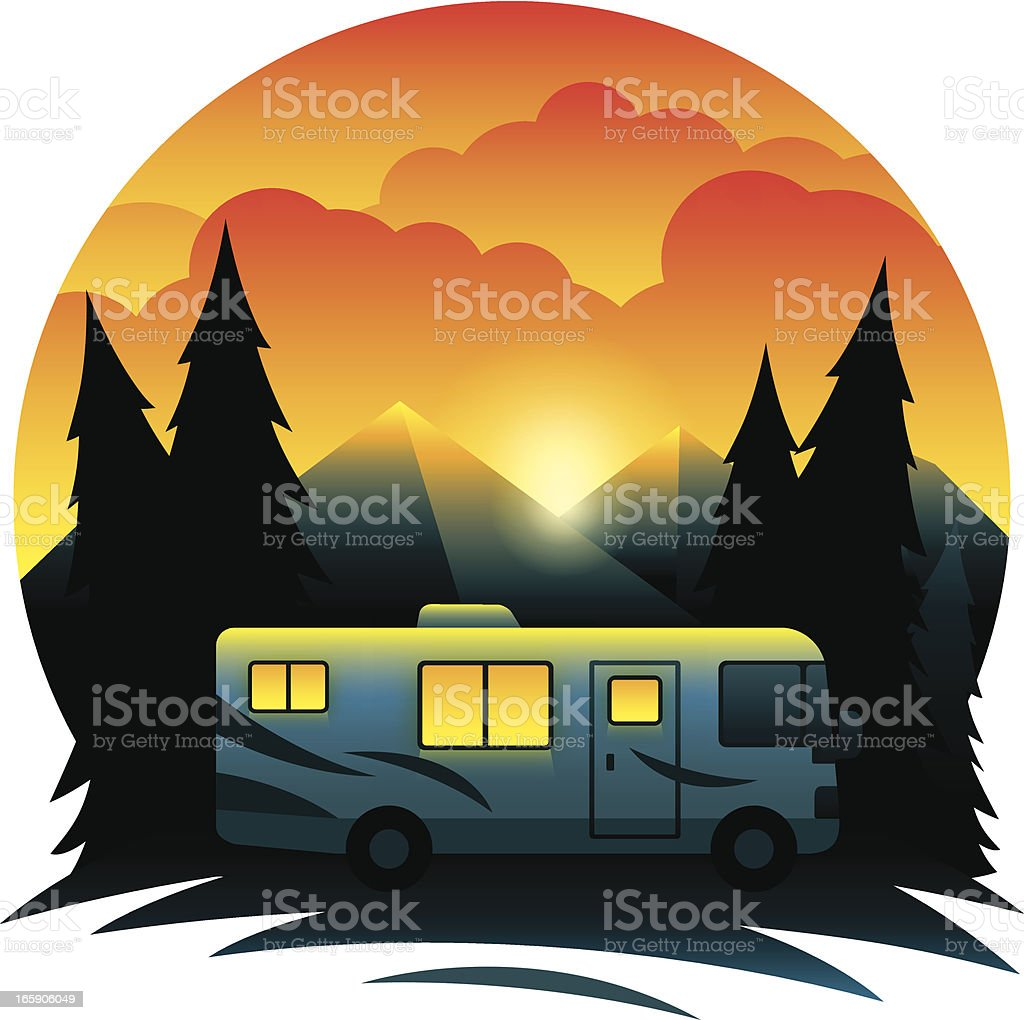 Mountain RV Scene royalty-free stock vector art