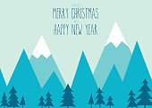 Merry Christmas & Happy New Year. Winter mountain scene with pine trees.