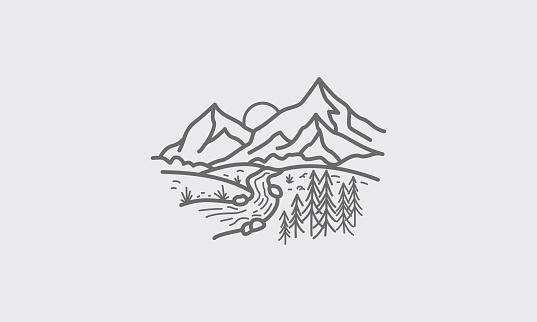 Mountain Scenery Line Vector Illustration
