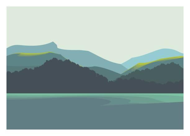 berge, meer und küste landschaft - buchten stock-grafiken, -clipart, -cartoons und -symbole