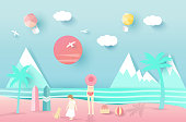 Mountain sea beach landscape with  happy family, paper art style on pastel color background.vector illustration