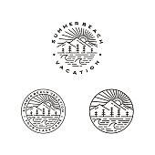istock Mountain, Sea, Waves, pine tree and Sun outdoor adventure Stamp badge - Line outline monoline illustration stock illustration Indonesia, Logo, Vector, Sun, Sunlight 1290056937