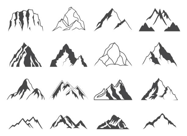Mountain Shapes For icons vector art illustration