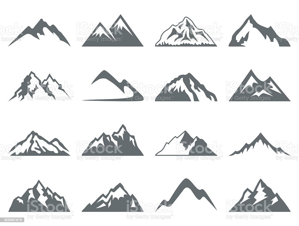 Mountain Shapes For Logos vector art illustration