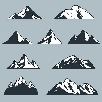 Mountain silhouette set. Rocky mountains icon or logo collection. Vector illustration.