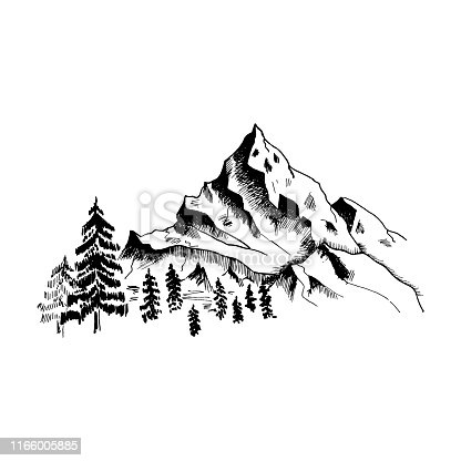 Mountain sketch. Hand drawn black mountains and forest, isolated on white. Vector illustration.