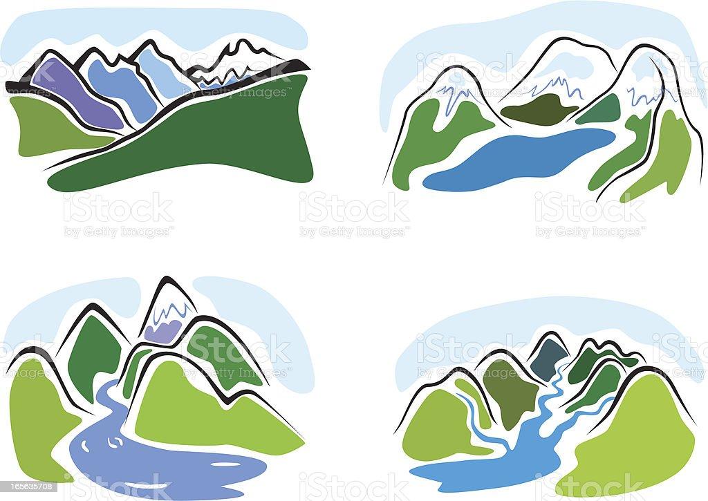 Mountain sketches set royalty-free stock vector art