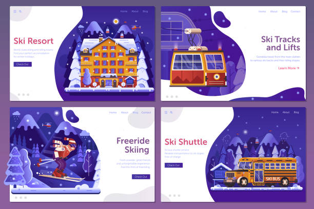 illustrazioni stock, clip art, cartoni animati e icone di tendenza di mountain ski rerost web landing page templates - negozio sci