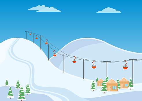 Mountain ski trail, ski resort with snow and wooden houses.