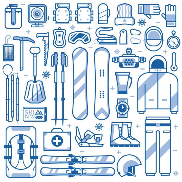 mountainbike skifahren und snowboarden icons - funktionsjacke stock-grafiken, -clipart, -cartoons und -symbole
