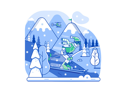 Freeride skiing race concept illustration with sportsman in motion. Slalom downhill skier riding on snowy winter mountain background. Young man on skis moving across snow forest. Night skiing scene.