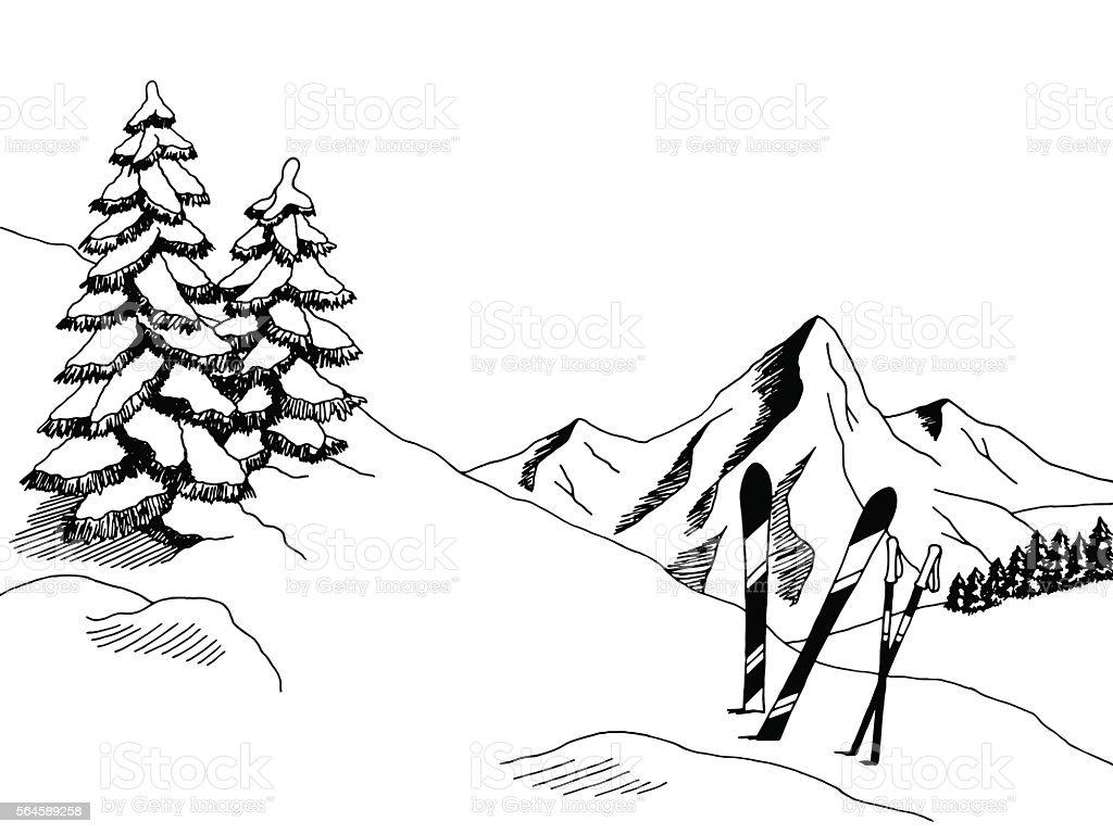 Mountain skiing graphic art black white landscape sketch illustration vector vector art illustration