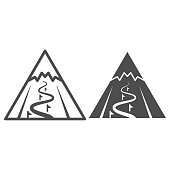 Mountain slope for descent line and solid icon, World snowboard day concept, ski track sign on white background, steep descent for skiing icon in outline style for mobile and web. Vector graphics