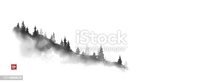 istock Mountain slope with pine trees. Traditional oriental ink painting sumi-e, u-sin, go-hua. Translation of hieroglyph - silence 1274886626